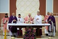 Pope Francis holds a mass at Prince Moulay Abdellah sports complex in Rabat, Morocco, March 31, 2019. REUTERS/Youssef Boudlal