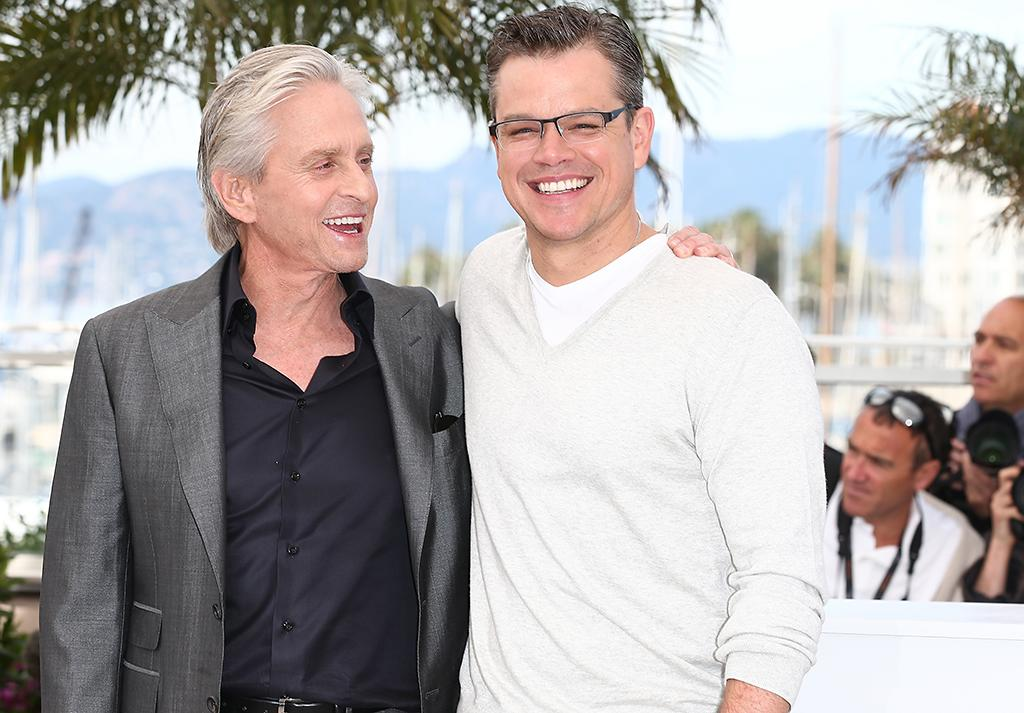 CANNES, FRANCE - MAY 21:  Actors Michael Douglas and Matt Damon (R) attend the 'Behind The Candelabra' Photocall during The 66th Annual Cannes Film Festival at the Palais des Festivals on May 21, 2013 in Cannes, France.  (Photo by Andreas Rentz/Getty Images)