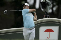Rory McIlroy, of Northern Ireland, tees off on the 18th hole during the third round of the Travelers Championship golf tournament at TPC River Highlands, Saturday, June 27, 2020, in Cromwell, Conn. (AP Photo/Frank Franklin II)