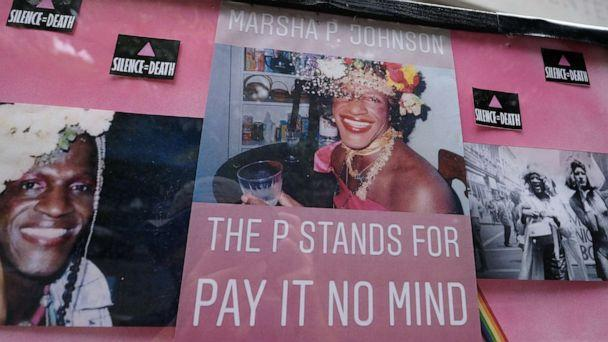 PHOTO: An art installation outside of the Justice Center provides information on Marsha P. Johnson in Portland, Ore., on June 21, 2019. (Alex Milan Tracy/Sipa USA via Newscom, FILE)