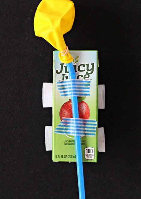 """<p>This project focuses mostly on the engineering side of STEM. You need some household items (toothpicks, bottle caps, coins) and an empty juicebox to construct the car — and then you can inflate the balloon through the straw and watch it go! </p><p><em><a href=""""https://raisingwhasians.com/juice-box-balloon-car-craft/"""" rel=""""nofollow noopener"""" target=""""_blank"""" data-ylk=""""slk:Get the tutorial at Raising Whasians »"""" class=""""link rapid-noclick-resp"""">Get the tutorial at Raising Whasians »</a></em></p>"""