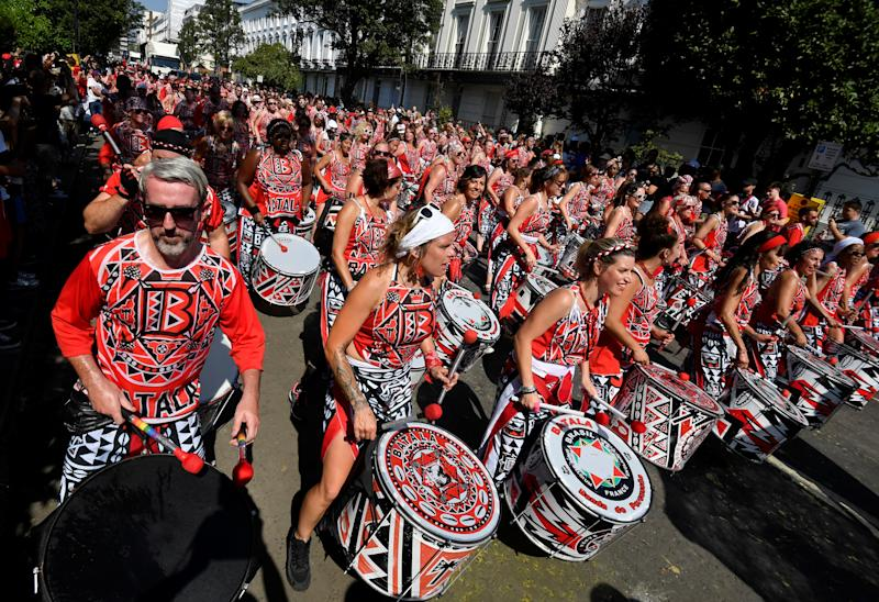 Revellers play drums as they take part in the Notting Hill Carnival in London, Britain August 26, 2019. (Photo: Toby Melville/Reuters)