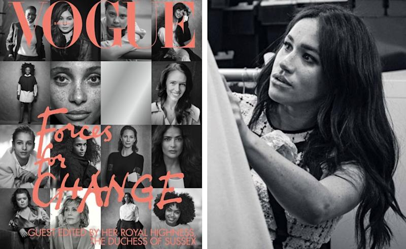 "Meghan Markle guest editor dell'edizione speciale di British Vogue ""Forces For Change"" (Instagram)."