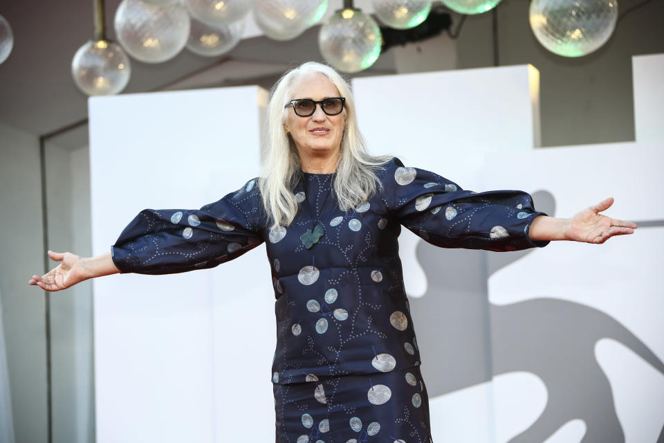 Jane Campion poses for photographers upon arrival at the closing ceremony of the 78th edition of the Venice Film Festival in Venice, Italy, Saturday, Sept. 11, 2021. (Photo by Joel C Ryan/Invision/AP)