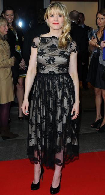 Celebrity fashion: Edith bowman has an incredible figure but this lace gothic dress does her no favours. The waist sits at an awkward position and the stretching around her boobs just isn't right.