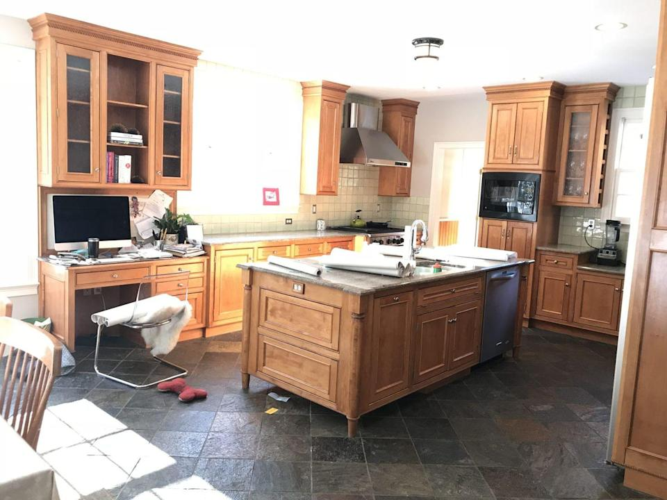 <p>While the layout of this kitchen is great as is, it could use an upgrade style-wise. Plus, it needs more overhead task-lighting and statement lighting. </p>