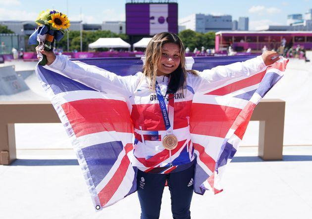 Great Britain's Sky Brown celebrates winning the bronze medal during the Women's Park Final at the Tokyo 2020 Olympic Games in Japan. (Photo: Adam Davy - PA Images via Getty Images)
