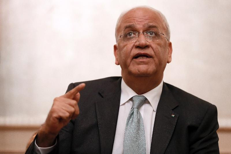 """Palestinian chief negotiator Saeb Erekat said moving the US embassy to Jerusalem """"will be the destruction of the peace process"""""""