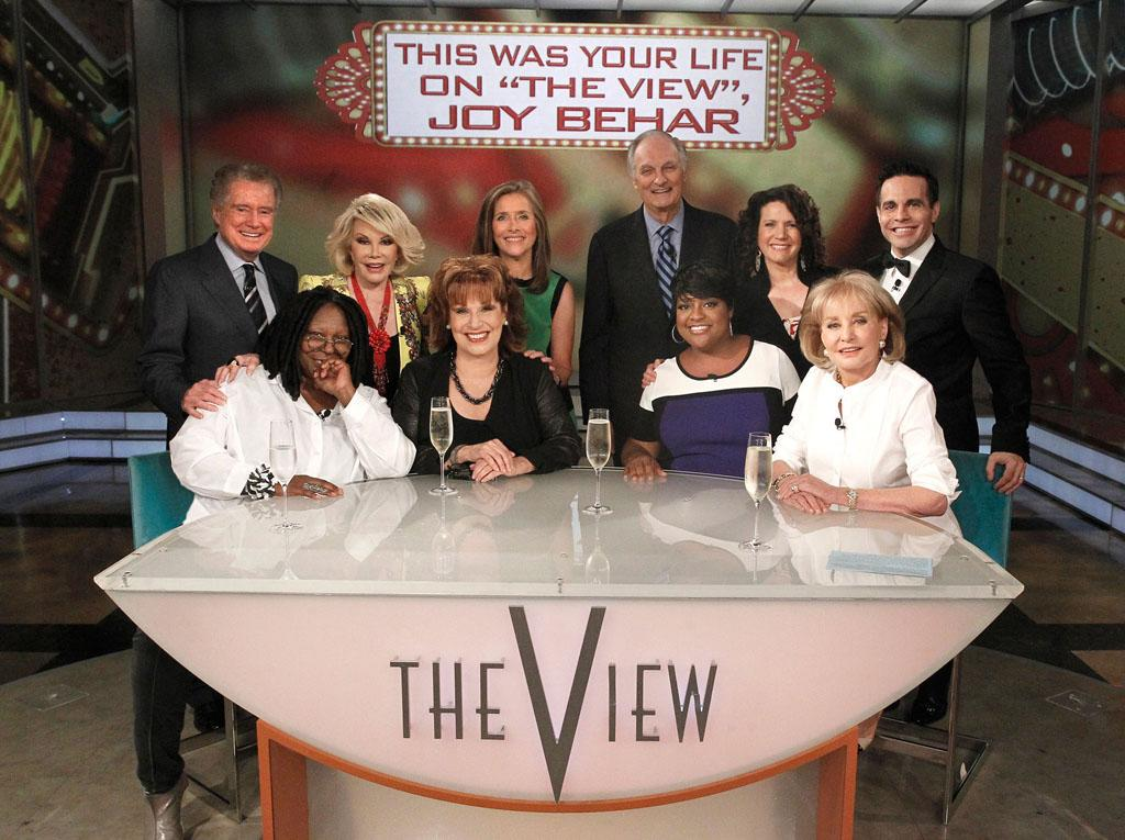 "Regis Philbin, Joan Rivers, Meredith Vieira, Alan Alda, Susie Essman, Mario Cantone, Whoopi Goldberg, Joy Behar, Sherri Shepherd, and Barbara Walters on Joy's final episode as co-host of ABC's ""The View"" on Friday, August 9, 2013."