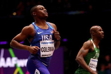 FILE PHOTO: Christian Coleman of the U.S. at Arena Birmingham, Birmingham, Britain - March 3, 2018. REUTERS/Phil Noble/File Photo