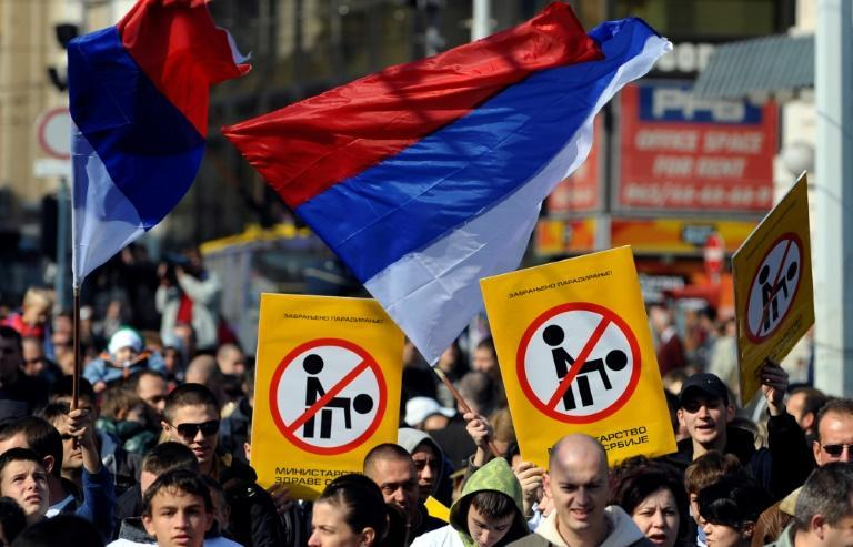 Serbs protest in 2010 against a planned Gay Pride parade planned