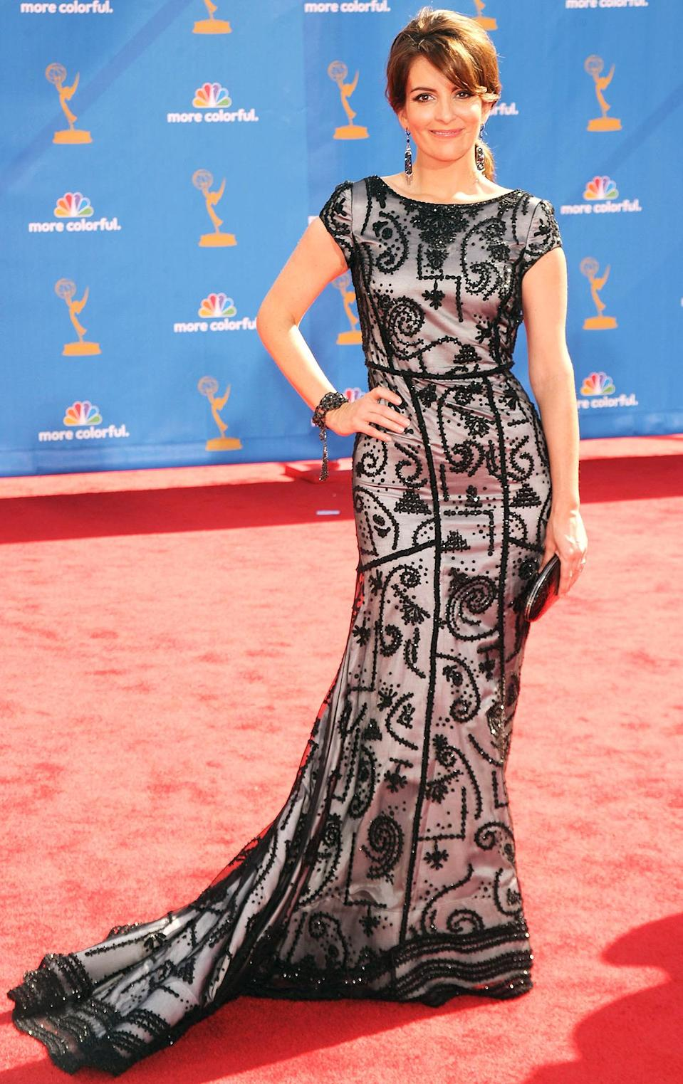 <p>Tina Fey, who was nominated for three awards (all for <em>30 Rock</em>) that year, stunned in an Oscar de la Renta gown. </p>