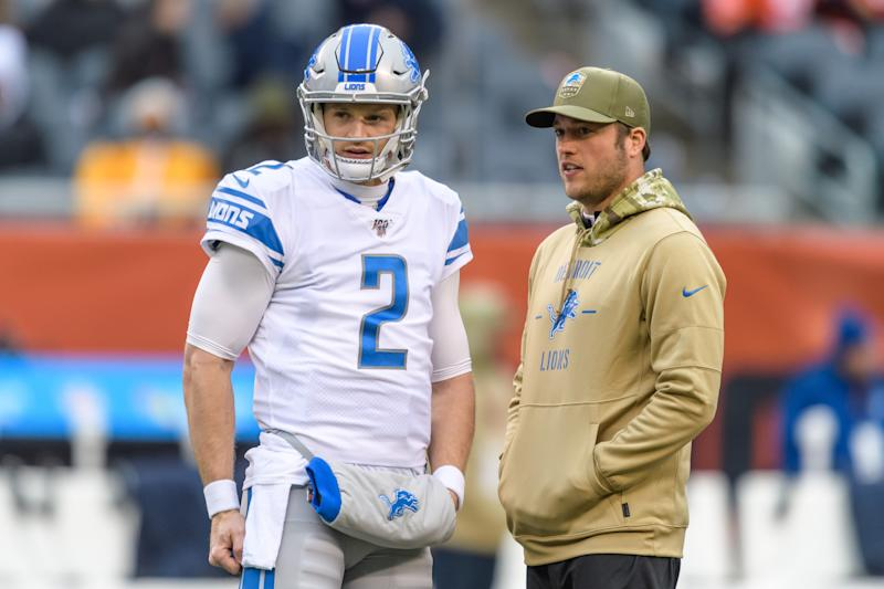 Matthew Stafford's back fractures mean he could miss up to 6 weeks, and backup QB Jeff Driskel (left) will play in his absence. (Photo by Daniel Bartel/Icon Sportswire via Getty Images)