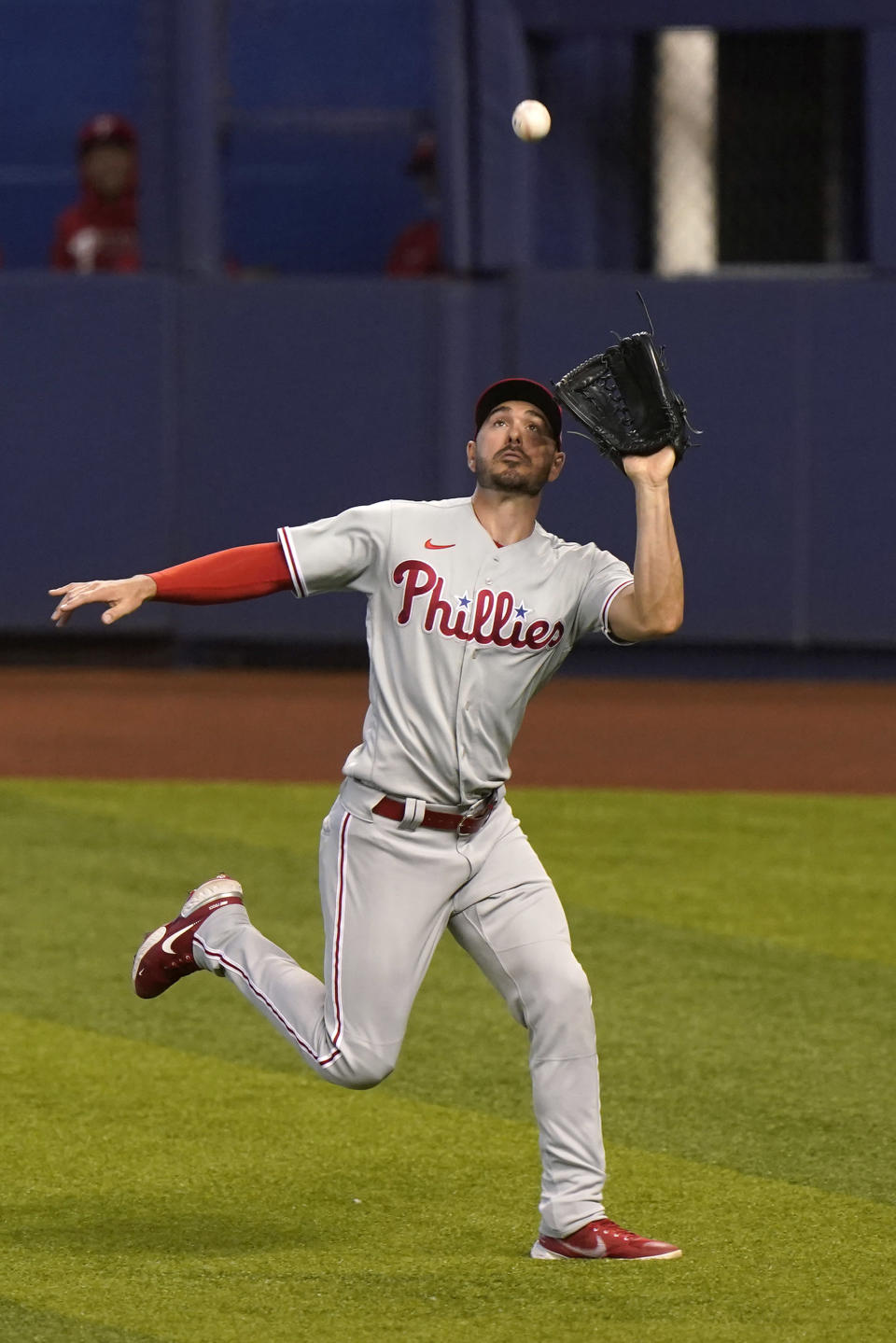 Philadelphia Phillies right fielder Matt Joyce catches a ball hit by Miami Marlins' Jon Berti during the second inning of a baseball game, Thursday, May 27, 2021, in Miami. (AP Photo/Wilfredo Lee)