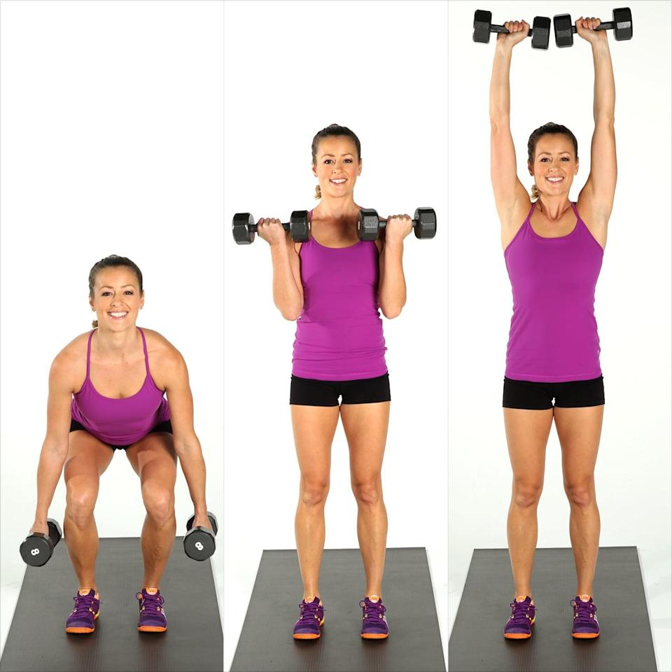 <ul> <li>Stand with your feet directly under your hips holding a dumbbell in each hand. Sit back into your squat, keeping the weight in your heels, bringing your thighs parallel to the floor without letting your knees go beyond your toes.</li> <li>Push through your heels to return to standing while bringing the weights to your shoulders, performing a bicep curl.</li> <li>Stabilize your torso and keep your arms moving upward, performing an overhead press with your palms facing out.</li> <li>Lower your arms back to your sides to complete one rep.</li> </ul>