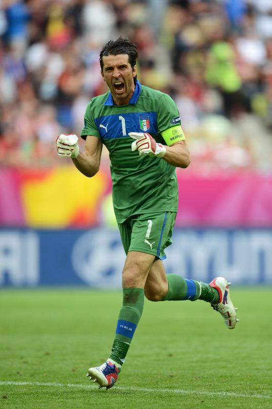 GDANSK, POLAND - JUNE 10: Gianluigi Buffon of Italy celebrates after Italy scored during the UEFA EURO 2012 group C match between Spain and Italy at The Municipal Stadium on June 10, 2012 in Gdansk, Poland. (Photo by Jasper Juinen/Getty Images)