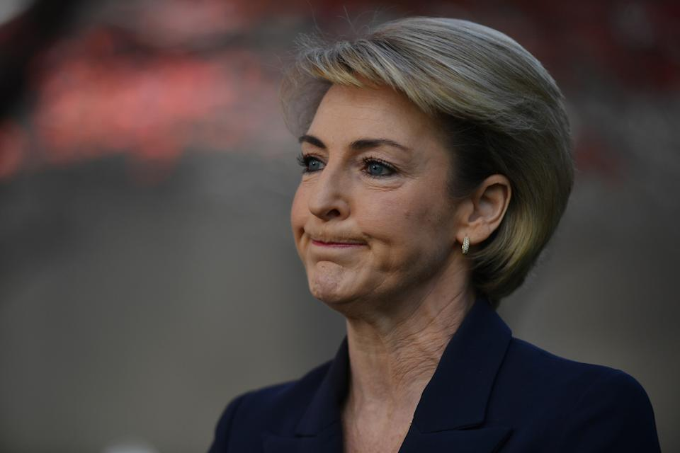 CANBERRA, AUSTRALIA - MAY 14: Senator Michaelia Cash during a press conference in the Senate Courtyard at Parliament House on May 14, 2020 in Canberra, Australia. Today is final day of a special parliamentary sitting, after parliament was adjourned due to the COVID-19 outbreak. Parliament is set to resume in August 2020.  (Photo by Sam Mooy/Getty Images)
