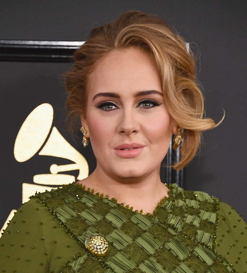 Adele arrives at the 59th GRAMMY Awards at the Staples Center on February 12, 2017 in Los Angeles, California.  (Photo by Jon Kopaloff/FilmMagic)