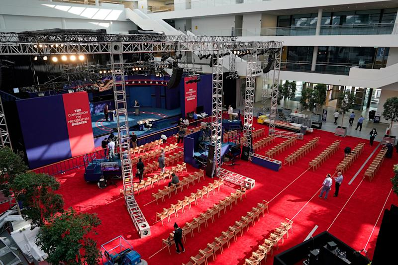 Preparations take place in Cleveland on Sept. 28, 2020, for the first presidential debate between Donald Trump and Joe Biden. (Photo: AP Photo/Patrick Semansky)