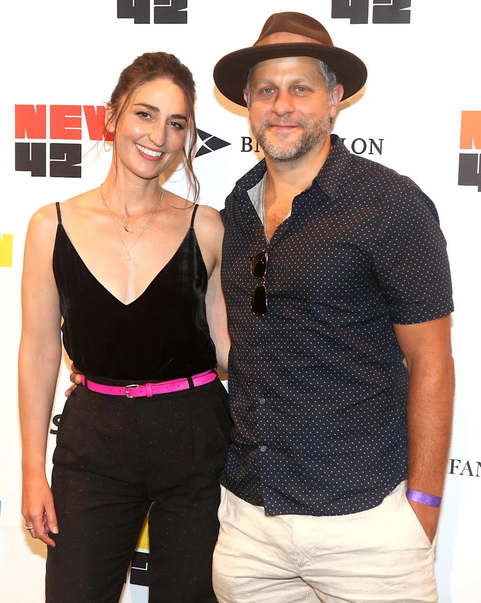 <p>Sara Bareilles and Joe Tippett pose at the Let's Get This Show on the Street: New 42 Celebrates Arts Education on 42nd Street in Times Square.</p>