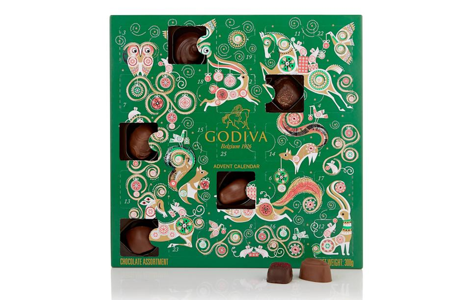 """<p>Godiva's 2017 offering includes a selection of 25 of their signature chocolates from rich caramels to fruity and hazelnut-flavoured creations. <br><a rel=""""nofollow noopener"""" href=""""http://www.godivachocolates.co.uk/"""" target=""""_blank"""" data-ylk=""""slk:Godiva, £28"""" class=""""link rapid-noclick-resp""""><i>Godiva, £28</i></a> </p>"""