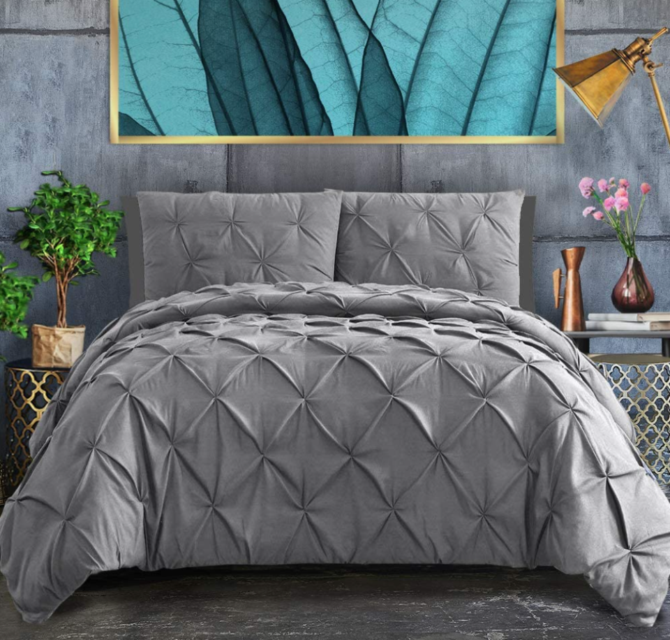 Ashley River Pinch Pleated Duvet Cover in Grey (Photo via Amazon)