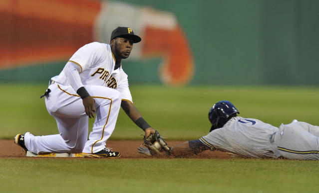 Pittsburgh Pirates second baseman Josh Harrison makes the tag on Milwaukee Brewers Jean Segura (9) during an attempted steal in the first inning of a baseball game on Wednesday, Aug. 28, 2013, in Pittsburgh. (AP Photo/Don Wright)
