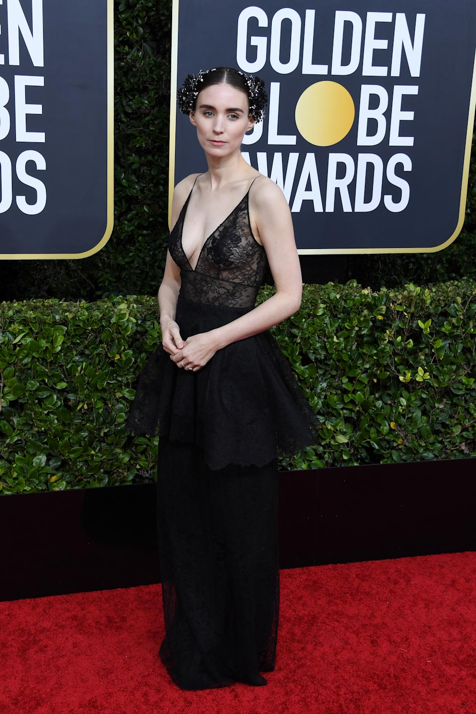 Mara opted for a gothic-inspired gown by Givenchy to support fiancé and Golden Globe nominee Joaquin Phoenix. (Photo by Daniele Venturelli/WireImage)