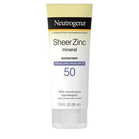 """<p><strong>Neutrogena</strong></p><p>walmart.com</p><p><strong>$10.97</strong></p><p><a href=""""https://go.redirectingat.com?id=74968X1596630&url=https%3A%2F%2Fwww.walmart.com%2Fip%2F108089178&sref=https%3A%2F%2Fwww.thepioneerwoman.com%2Fbeauty%2Fskin-makeup-nails%2Fg32381661%2Fbest-natural-sunscreen%2F"""" rel=""""nofollow noopener"""" target=""""_blank"""" data-ylk=""""slk:Shop Now"""" class=""""link rapid-noclick-resp"""">Shop Now</a></p><p>This hypoallergenic sunscreen is sheer enough that you can layer it under makeup. It's also fragrance-free and noncomedogenic, making it ideal for sensitive skin. </p>"""