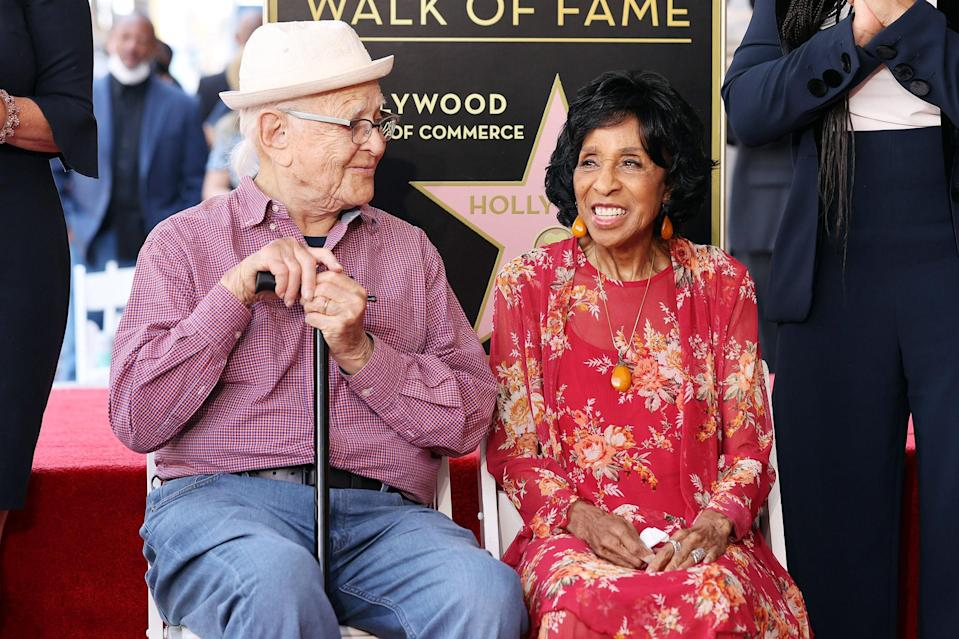 <p>Norman Lear and honoree Marla Gibbs attend the Hollywood Walk of Fame Star ceremony on July 20 in Hollywood.</p>