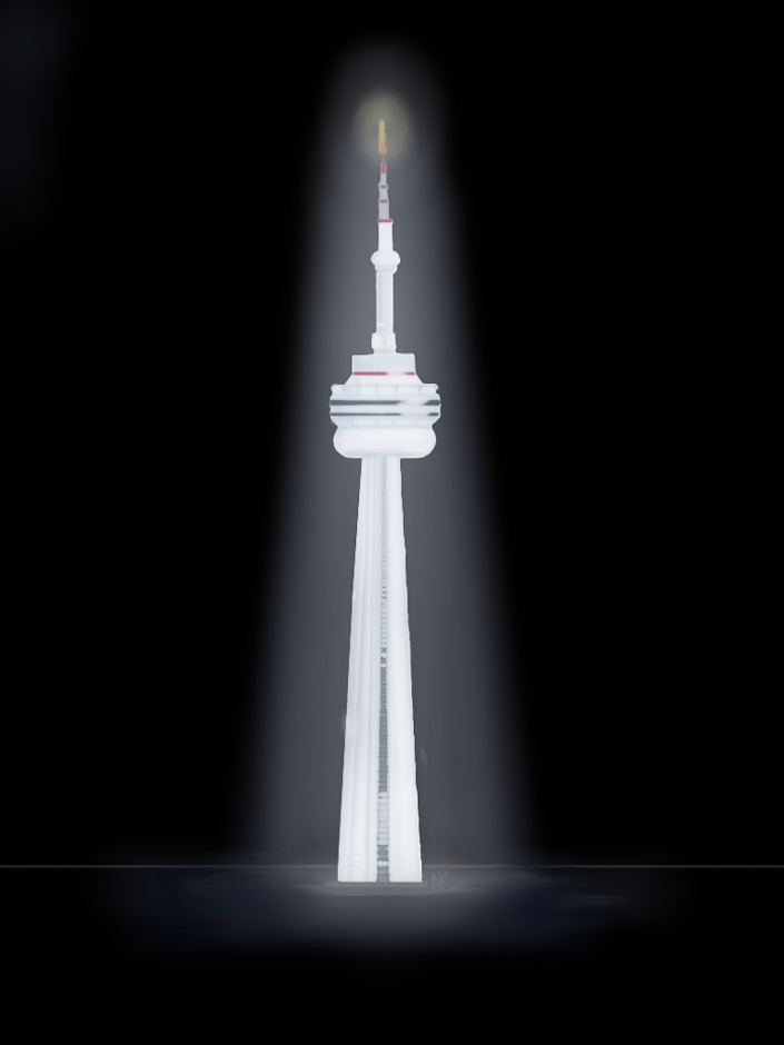 Editorial cartoonist Naseeba Khader commemorates Toronto's strength with an illustration of the CN Tower bathed in light. 10 people died and 14 more were injured after a driver mounted a curb and ploughed unsuspecting pedestrians in one of the city's major intersections on April 23, 2018.
