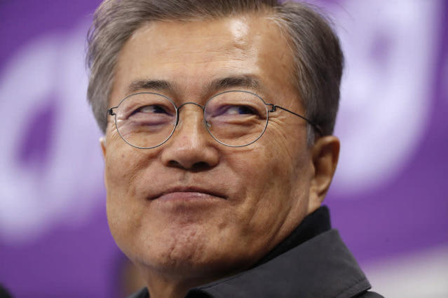Short Track Speed Skating Events - Pyeongchang 2018 Winter Olympics - Women's 1500m - Gangneung Ice Arena - Gangneung, South Korea - February 17, 2018 - South Korea's President Moon Jae-in attends. REUTERS/John Sibley