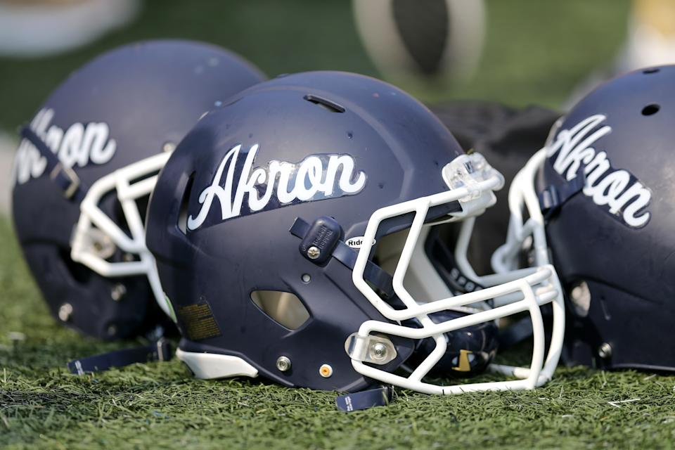 AKRON, OH - SEPTEMBER 21: Akron Zips helmets on the field during the second quarter of the college football game between the Troy Trojans and Akron Zips on September 21, 2019, at Summa Field at InfoCision Stadium in Akron, OH. (Photo by Frank Jansky/Icon Sportswire via Getty Images)