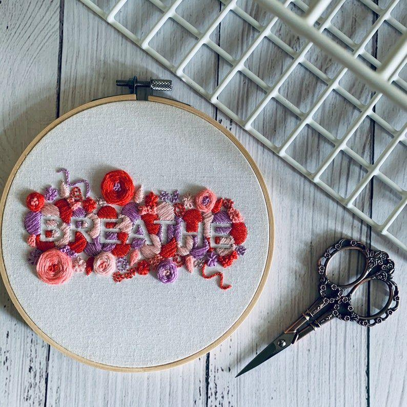 """<p><strong>RoseStitchArt</strong></p><p>etsy.com</p><p><strong>$28.52</strong></p><p><a href=""""https://go.redirectingat.com?id=74968X1596630&url=https%3A%2F%2Fwww.etsy.com%2Flisting%2F885868863%2Ffull-embroidery-kit-breathe-positive&sref=https%3A%2F%2Fwww.oprahdaily.com%2Flife%2Fg37101463%2Fbest-embroidery-kits%2F"""" rel=""""nofollow noopener"""" target=""""_blank"""" data-ylk=""""slk:SHOP NOW"""" class=""""link rapid-noclick-resp"""">SHOP NOW</a></p><p>One of the best things about embroidery is its relaxation benefits. This kit—with the word """"breathe"""" in the negative space between the flowers—is a very overt reminder of that. </p>"""