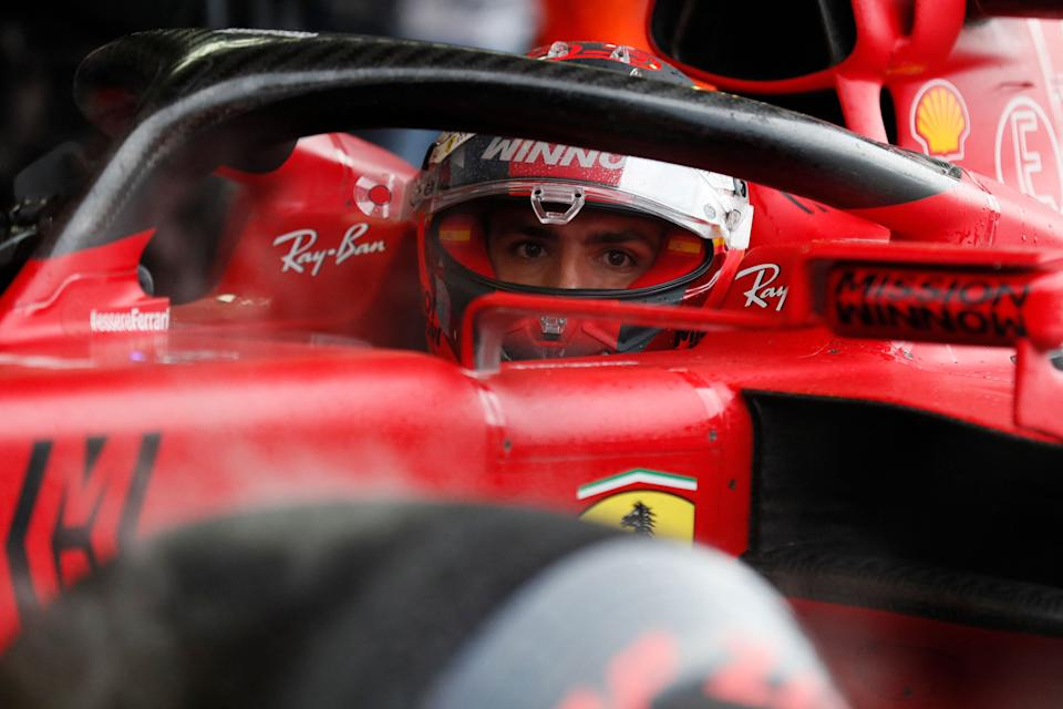 Ferrari's Spanish driver Carlos Sainz Jr sits in his car after the qualifying session for the Formula One Russian Grand Prix at the Sochi Autodrom circuit in Sochi on September 25, 2021. (Photo by Yuri Kochetkov / POOL / AFP) (Photo by YURI KOCHETKOV/POOL/AFP via Getty Images)