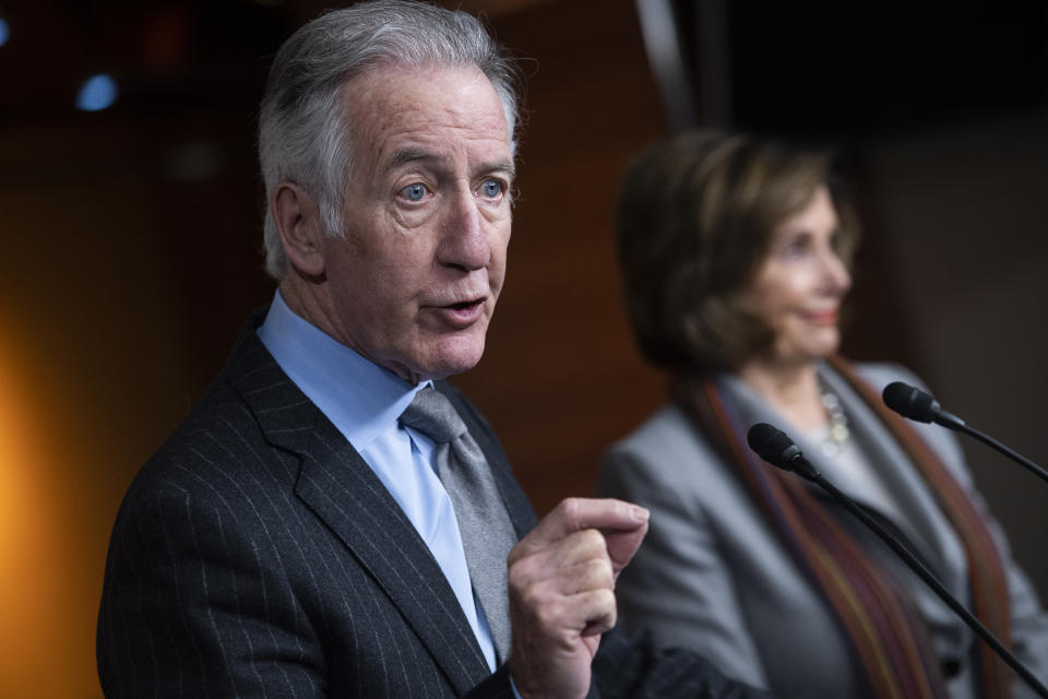 UNITED STATES - JANUARY 29: Ways and Means Chairman Richard Neal, D-Mass., and Speaker of the House Nancy Pelosi, D-Calif., conduct a news conference in the Capitol Visitor Center to announce a new infrastructure investment framework on Wednesday, January 29, 2020. (Photo By Tom Williams/CQ-Roll Call, Inc via Getty Images)