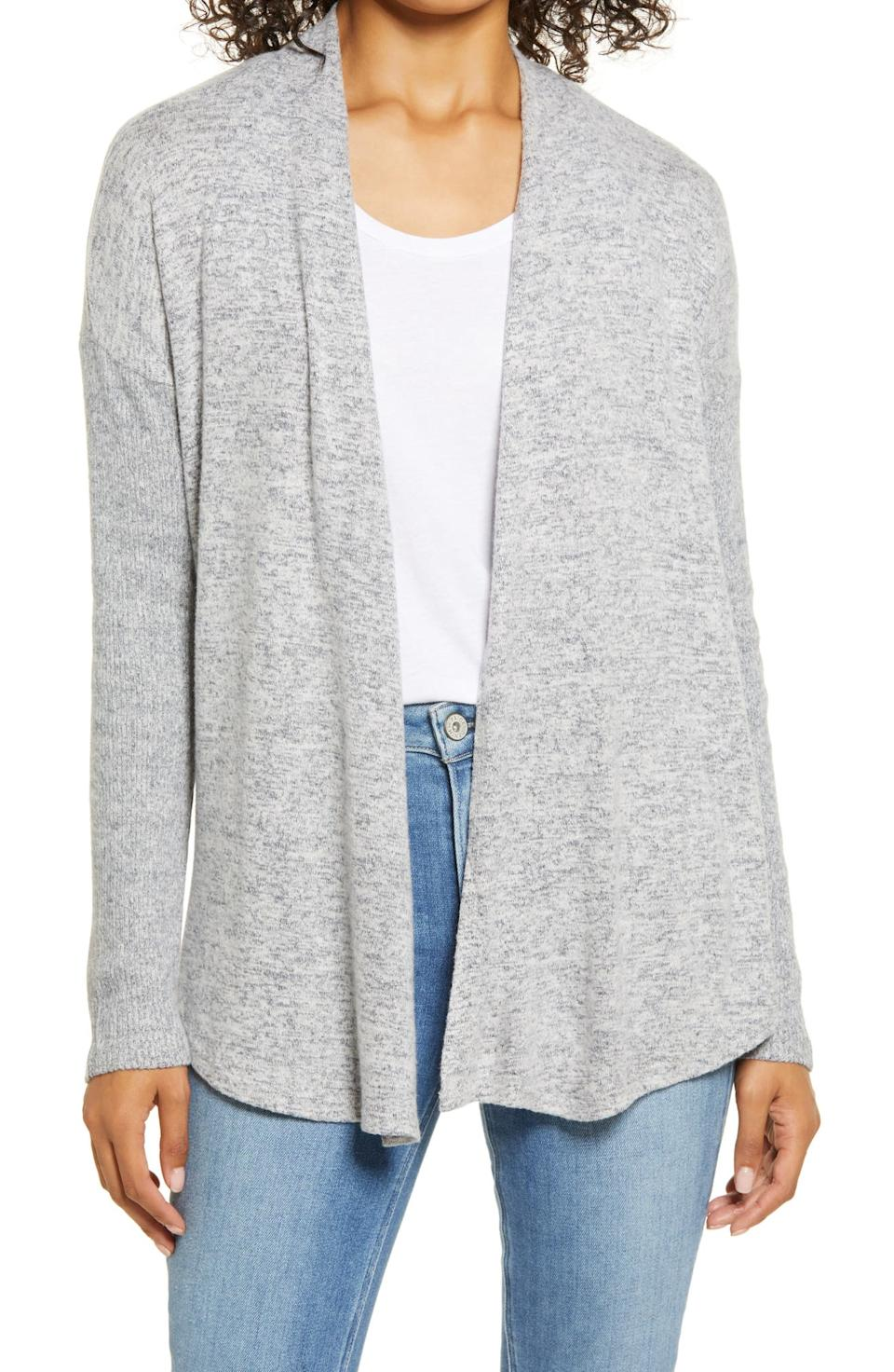 Bobeau Brushed Cardigan. Image via Nordstrom.