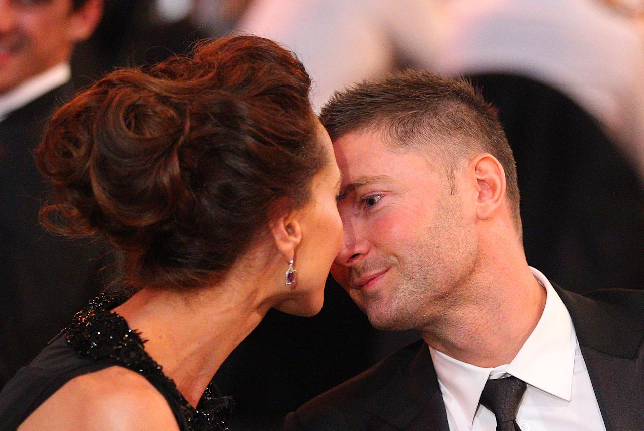 MELBOURNE, AUSTRALIA - FEBRUARY 27:  Michael Clarke of Australia is kissed by his girlfriend Kyly Boldy after winning the Allan Border Medal during the 2012 Allan Border Medal Awards at Crown Palladium on February 27, 2012 in Melbourne, Australia.  (Photo by Scott Barbour/Getty Images)