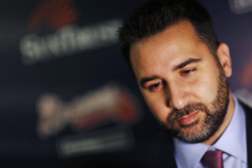 FILE - In this Nov. 13, 2017, file photo, Alex Anthopoulos speaks to reporters following a news conference introducing him as the new general manager of the Atlanta Braves baseball team in Atlanta. Anthopoulos says he hasnt ruled out signing a free agent but says he doesnt want to block prospects in the teams rebuilding process by adding a long-term contract. (AP Photo/David Goldman, File)