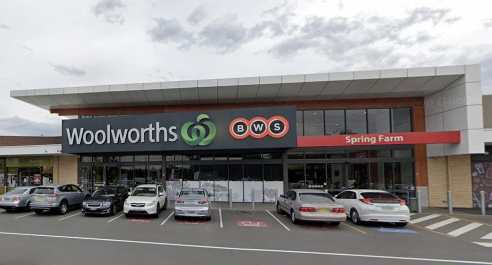 Woolworths at Sydney's Spring Farm is pictured. A staff member has tested positive to coronavirus.