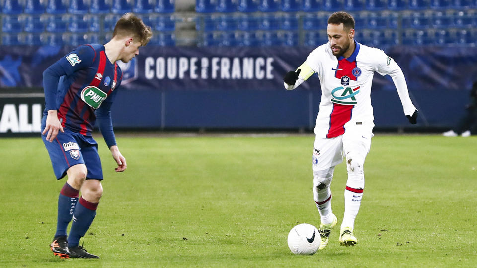 Neymar, pictured here in action for Paris Saint-Germain in the French Cup.