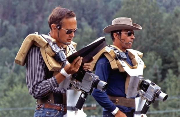 American astronauts Charles Duke, left, and John Young engaged in geologic training exercises in Sudbury, Ont., in July 1971 for the Apollo 16 moon mission. (NASA - image credit)