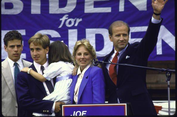 <p>Biden stands with his family after announcing his candidacy for the 1988 Democratic presidential nomination. </p>