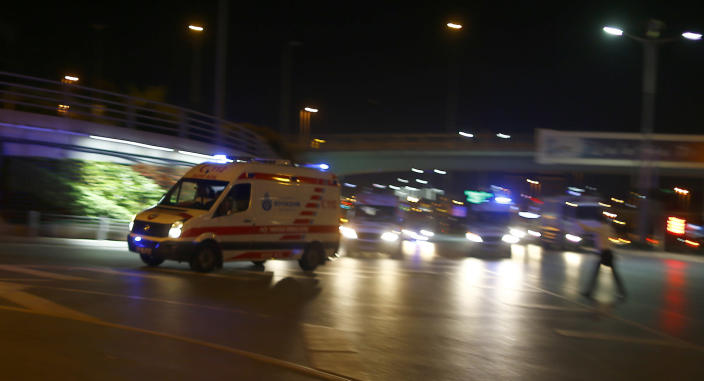 <p>Ambulance cars arrive at Turkey's largest airport, Istanbul Ataturk, Turkey, June 28, 2016. (REUTERS/Osman Orsal) </p>