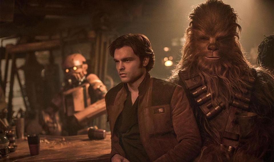 <p> The adventures of Han Solo were always going to be ripe ground to tell interesting new Star Wars stories, so when Disney announced a spin-off about the scruffy nerf-herder, few fans were surprised. The worry was: could any actor ever match the swagger of Harrison Ford? Thankfully, there was one man who stepped up to the plate and managed to embody Solo almost perfectly: Alden Ehrenreich. </p> <p> While perhaps a tepid performance at first, Ehrenreich soon becomes the Solo we all adore, carrying the movie through a raucous, imperfect adventure. We may not have needed an origins story to his name, or have his first meeting with Chewie be in a muddy pit, but the outcome is a Star Wars movie that feels more akin to the original trilogy than any of the prequels (or, indeed, Rogue One). There's also Donald Glover as Lando Calrissian, who embodies the character so well that you would think Glover spent his entire life gearing up for this one role. </p>