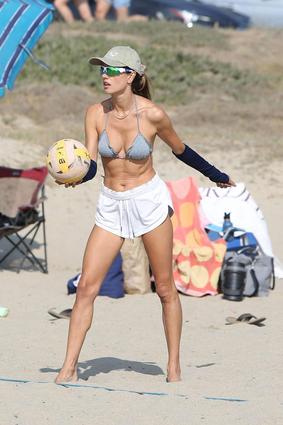 <p>Alessandra Ambrosio was spotted at a Los Angeles beach playing volleyball.</p>