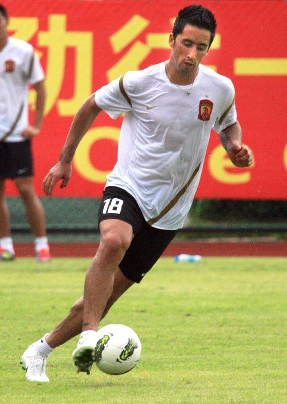Paraguayan football player Lucas Barrios during his first training session with his new team the Guangzhou Evergrande under World Cup-winning coach Marcello Lippi, in Guangzhou, south China's Guangdong province on June 18, 2012. Guangzhou will take on Saudi Arabia's Al Ittihad in the AFC Champions league two-leg quarterfinals on September 19 and October 2. CHINA OUT AFP PHOTOSTR/AFP/GettyImages