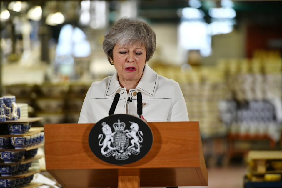 British Prime Minister Theresa May delivers a speech during a visit to the Portmeirion factory in Stoke-on-Trent, Britain January 14, 2019. Photo: Ben Birchall/Pool via REUTERS