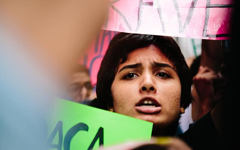 Immigrants' rights protesters demand the Trump administration protect the Deferred Action for Childhood Arrivals (DACA) program  - EPA