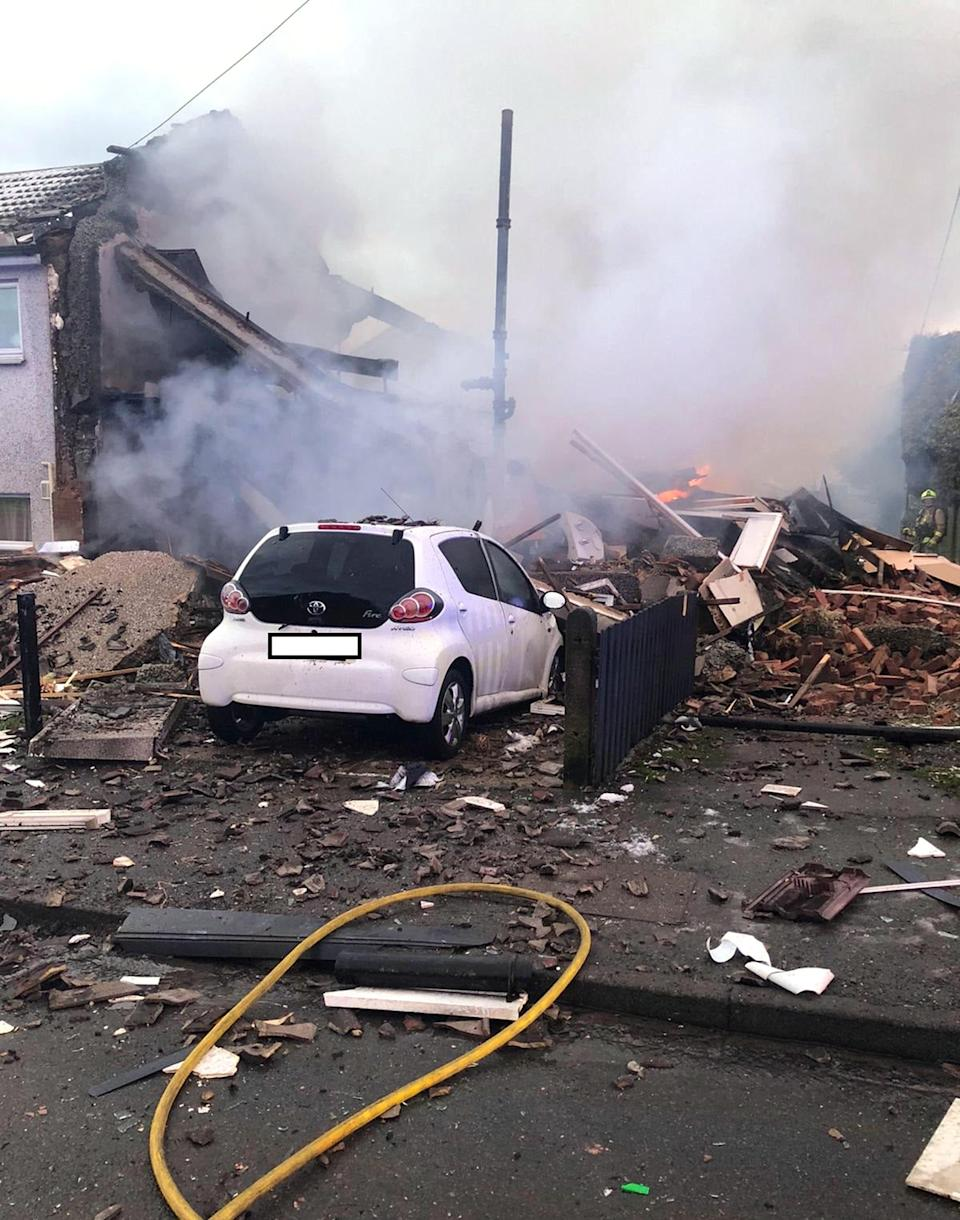 Handout photo from the Twitter feed of West Yorkshire Fire and Rescue Service of an explosion at a house in the Illingworth area of Halifax, West Yorkshire. (Photo: PA)